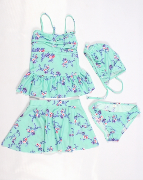Beautiful Sea Green Swimsuit With Floral Print For Baby Girl