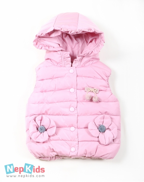 Thick and Warm Sleeveless Jacket with Hood - Peach