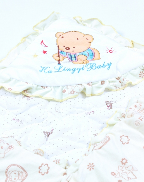 Happy Teddy Thick Wrapping Blanket