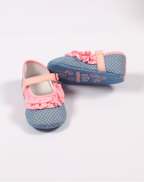 Cotton Laced Dotted Baby Girl Shoes