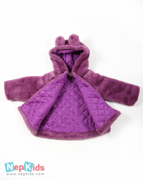 High Quality Full sleeves Furry Coat with hood - Purple