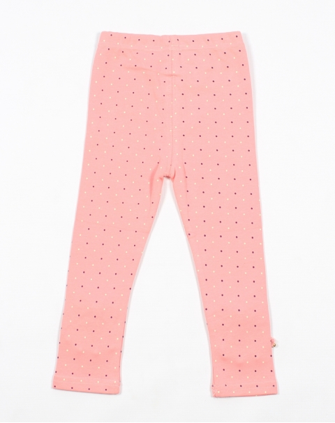 Polka Dots Stretchable Leggings With Bow And Lace Patch Work